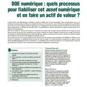 DOE numérique : quels processus pour fiabiliser cet asset numérique et en faire un actif de valeur ?